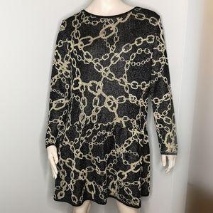 Zara Metallic Gold Chain Print Drop Waist Dress